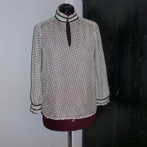 J. Crew Clip Dot Black and White Blouse Shirt 10